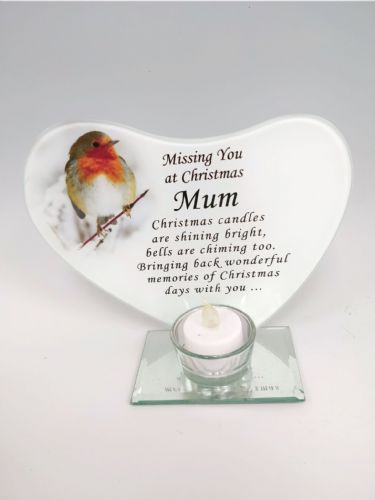 'Mum' robin glass plaque tea light holder.